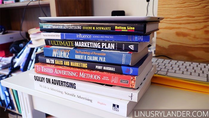 Sadly, I only have a small portion of my marketing library in physical copies. Hence the iPad.